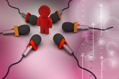Micrófono con el hombre, concepto de la comunicación Foto de archivo libre de regalías