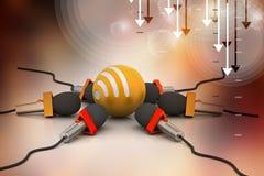 Micrófono con la muestra de los rss, concepto de la comunicación Fotografía de archivo libre de regalías