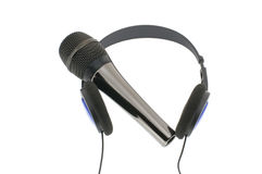 Micrófono con los auriculares Imagen de archivo libre de regalías