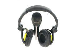 Micrófono con los auriculares Fotos de archivo libres de regalías