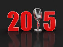 Micrófono con 2015 (trayectoria de recortes incluida) Imágenes de archivo libres de regalías