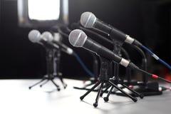 Micrófono de la rueda de prensa Imágenes de archivo libres de regalías