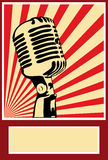 Micrófono del cartel de la música Imagen de archivo