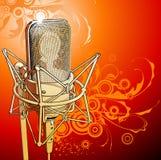 Micrófono del profesional del oro Foto de archivo libre de regalías