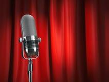 Micrófono del vintage en etapa con la cortina roja Concepto de la música ilustración del vector