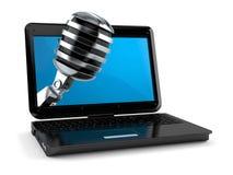 Micrófono dentro del ordenador portátil stock de ilustración