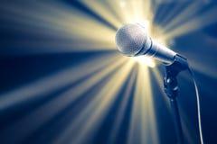 Micrófono en etapa Foto de archivo libre de regalías