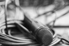 Micrófono negro Imágenes de archivo libres de regalías