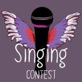 Micrófono negro con las alas coloridas La competencia del canto Vector el ejemplo en fondo violeta oscuro Imagenes de archivo
