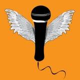 Micrófono negro con las alas Ejemplo del vector en fondo anaranjado Fotos de archivo libres de regalías