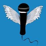 Micrófono negro con las alas Ejemplo del vector en fondo azul Imagen de archivo libre de regalías