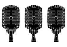 Micrófono negro en blanco Imagen de archivo libre de regalías