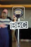 Micrófono retro grampian de la BBC del vintage en un evento retro Foto de archivo libre de regalías