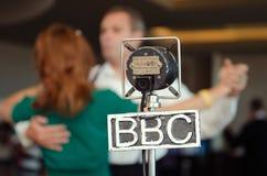 Micrófono retro grampian de la BBC del vintage en un evento retro Foto de archivo