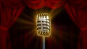 Micrófono retro y cortinas rojas Imagenes de archivo