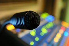 Micrófono-soundcheck-música Fotografía de archivo