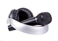 Micrófono y auriculares Foto de archivo libre de regalías