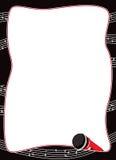 Micrófono y frontera de las notas musicales stock de ilustración