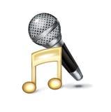 Micrófono y nota de la música sobre blanco stock de ilustración