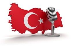 Micrófono y Turquía (trayectoria de recortes incluida) Foto de archivo libre de regalías