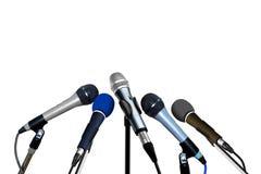 Micrófonos de la rueda de prensa Imagen de archivo libre de regalías