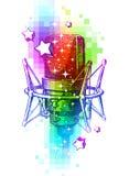 Micrófonos del estudio en un fondo multicolor Imagen de archivo