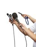 micrófonos del periodismo Imagen de archivo