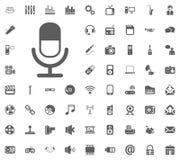 Micrafon icon. Media, Music and Communication vector illustration icon set. Set of universal icons. Set of 64 icons.  Royalty Free Stock Image