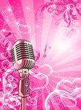 Micrófono rosado de las tarjetas del día de San Valentín Fotos de archivo libres de regalías