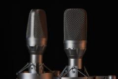 Micrófonos grandes de la estereofonia del diafragma Foto de archivo libre de regalías