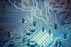 Micro, carte mère, ordinateur et fond moderne de l'électronique Images stock