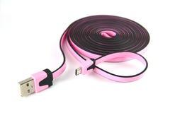 Micro cavo lungo di USB Immagini Stock