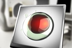 A micro cell on monitor in laboratory. 3d rendered Stock Images