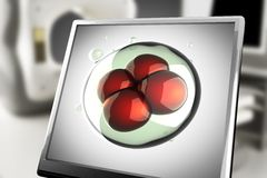 A micro cell on monitor in laboratory. 3d rendered Stock Photos