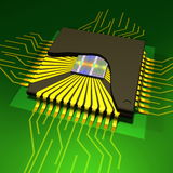 Micro chip. Microchip on a green background Royalty Free Stock Image