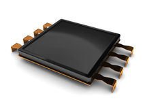 Micro chip. 3d illustration of electronic chip over white background Stock Image