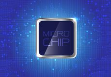 Micro Chip on blue circuit pattern background design modern computer futuristic background vector. Stock Image