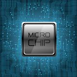 Micro Chip on blue circuit pattern design modern futuristic technology computer background vector. Stock Photo