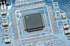 Micro chip closeup Royalty Free Stock Photo