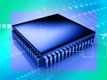 Micro chip. In digital background Royalty Free Stock Photos