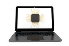 Micro chip e computer portatile moderno Fotografie Stock Libere da Diritti