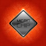 Micro Chip on red circuit pattern design modern futuristic technology computer background vector. Stock Photos