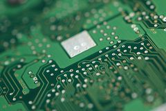 Micro chip on system board Stock Photography