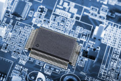 Micro-chips and circuitboard Royalty Free Stock Photo