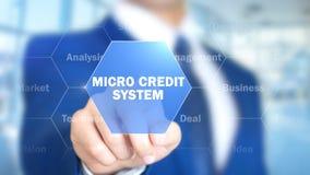 Micro credito, uomo che lavora all'interfaccia olografica, schermo visivo immagine stock