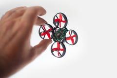 Micro drone in hand Stock Photo