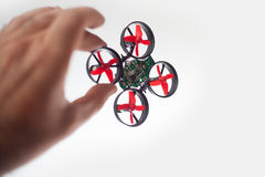 Micro drone in hand Royalty Free Stock Photo