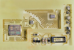 Micro Electronics Detail. Half inch computer chip and other components inside a smart card Royalty Free Stock Photography