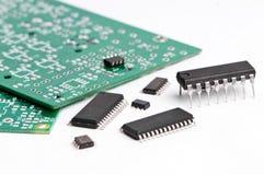 Micro- elektronikaelement en raad Royalty-vrije Stock Afbeelding
