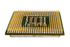 The micro elements of computer central processor unit, CPU contact pins Royalty Free Stock Image